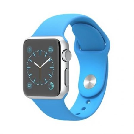 Apple Watch (MLCG2) 38mm Silver Aluminum Case with Blue Sport Band