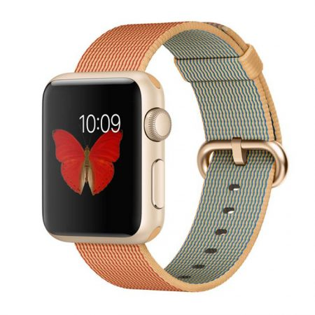 Apple Watch (MMF52) 38mm Gold Aluminum Case with Gold/Red Woven Nylon
