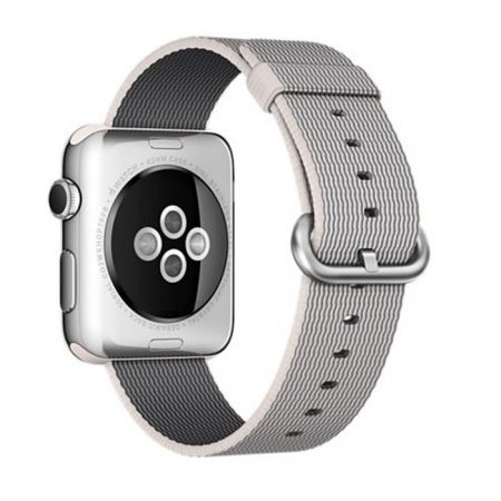 Apple Watch (MMG02) 42mm Stainless Steel Case with Pearl Woven Nylon