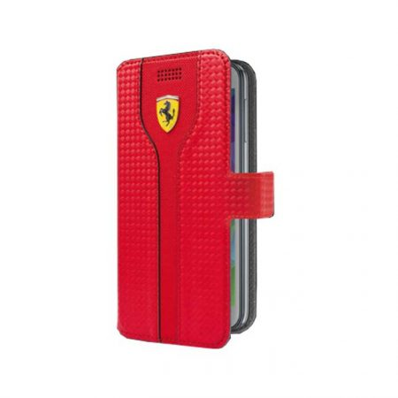 Ferrari Racing Carbon Universal Leather Booktype case 4'6 to 5'1 - Red