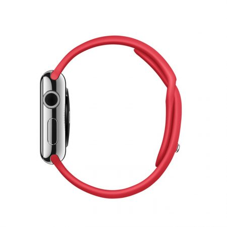 Apple Watch (MLLD2) 38mm Stainless Steel Case with RED Sport Band