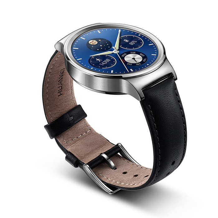Buy Huawei Watch W1 Silver With Black Leather Strap