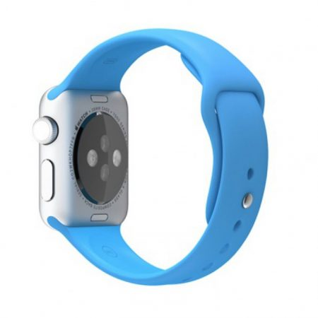 APPLE WATCH SPORT 38MM SILVER ALUMINUM CASE WITH BLUE SPORT BAND MJ2V2