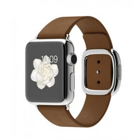 Apple MJ3A2- 38mm Stainless Steel Case with Brown Modern Buckle - Small Strap Size