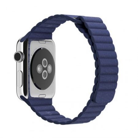 Apple Watch MJ452 - 42mm Stainless Steel Case with Bright Blue Leather Loop