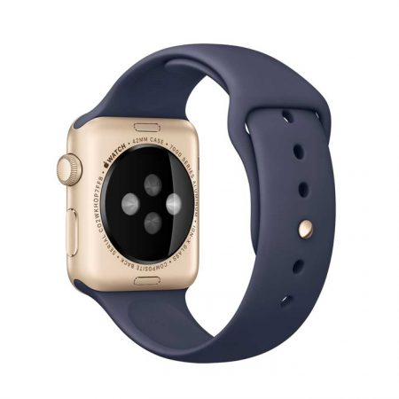Apple Watch (MLC72) 42mm Gold Aluminum Case with Midnight Blue Sport Band