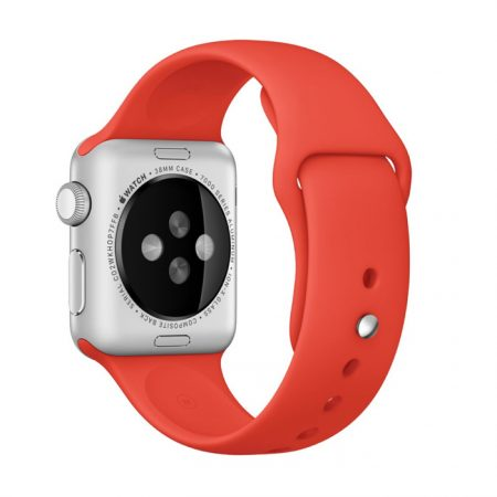 Apple Watch (MLCF2) 38mm Silver Aluminum Case with Orange Sport Band