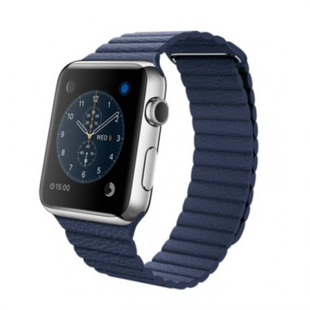 Apple Watch (MLFC2) 42mm Stainless Steel Case with Midnight Blue Leather Loop