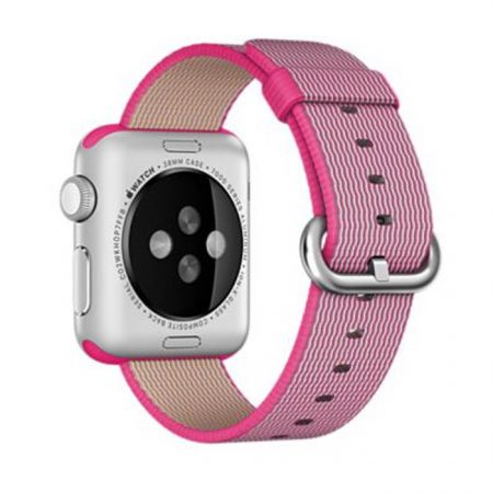 Apple Watch (MMF32) 38mm Silver Aluminum Case with Pink Woven Nylon