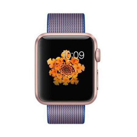 Apple Watch (MMFP2) 42mm Rose Gold Aluminum Case with Royal Blue Woven Nylon