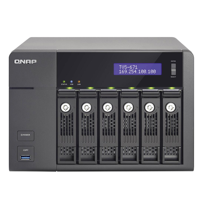 QNAP TVS-671-i3-4G-US 6-Bay Intel Core i3 3.5GHz Dual Core, 4GB RAM, 4LAN,