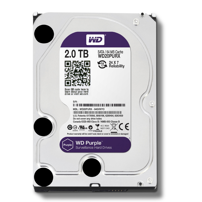 "Western Digital 2TB 64MB 3.5"" SATA HDD 6Gb/s PURPLE - WD20PURX"