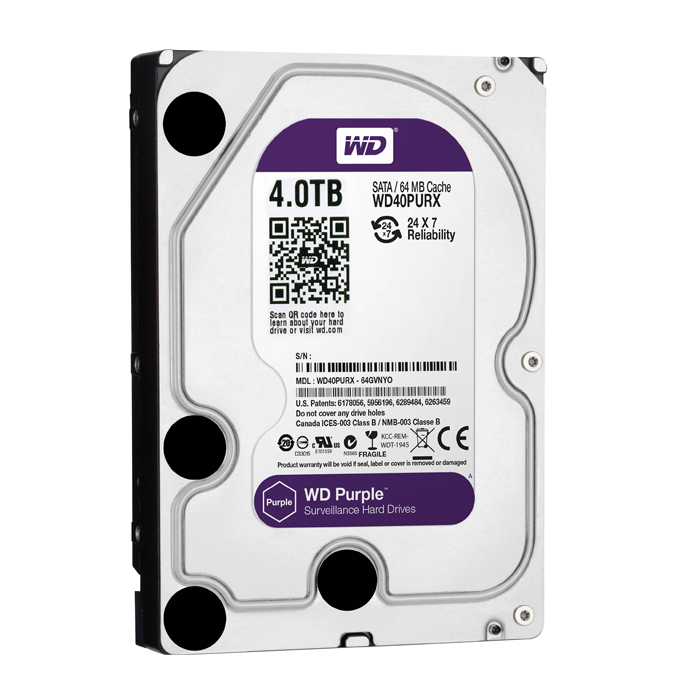 "Western Digital 4TB 64MB 3.5"" SATA HDD 6Gb/s PURPLE - WD40PURX"