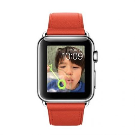 Apple Watch (MMF82) 38mm Stainless Steel Case with Red Classic Buckle