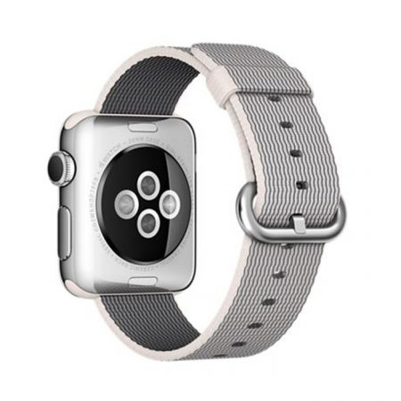 Apple Watch (MMFH2) 38mm Stainless Steel Case with Pearl Woven Nylon